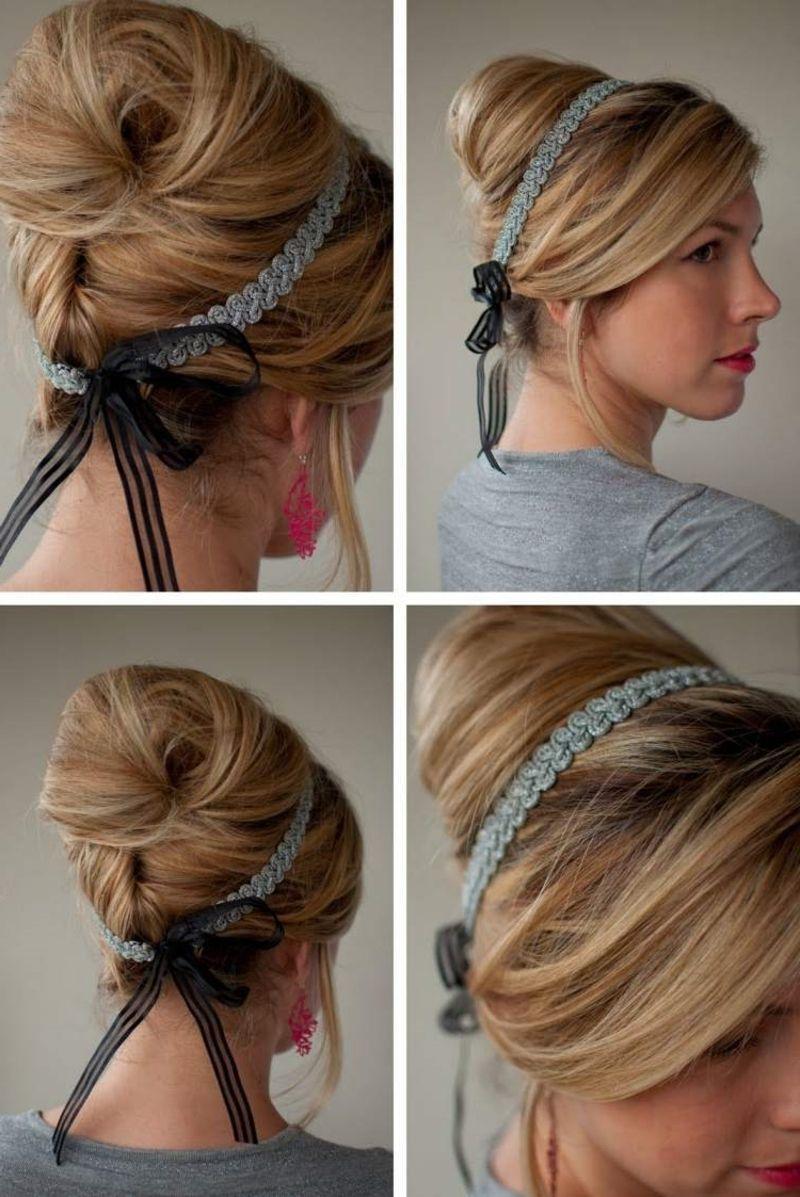 24 herrliche ideen f r effektvolle frisuren mit haarband haarband selber machen selber machen. Black Bedroom Furniture Sets. Home Design Ideas