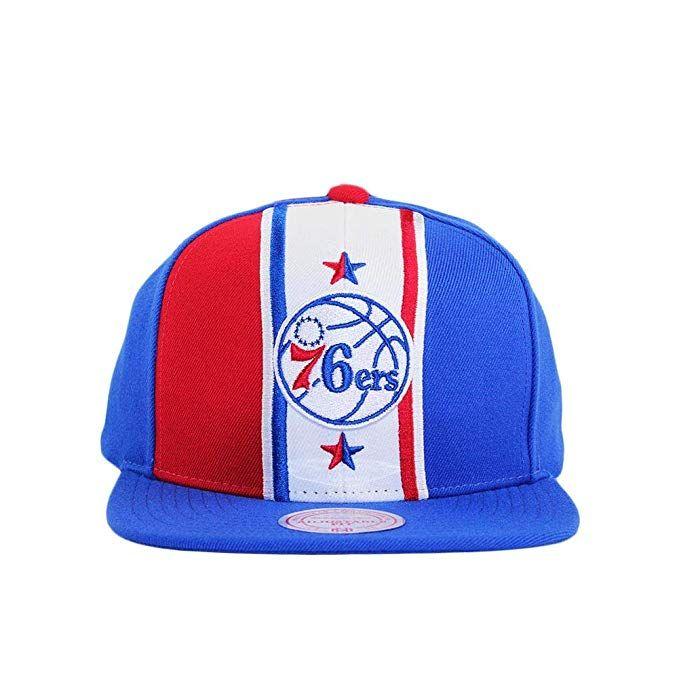 Mitchell   Ness Philadelphia 76ers Blue and Red Adjustable Shorts Split Snapback  Hat 72882372dd2b