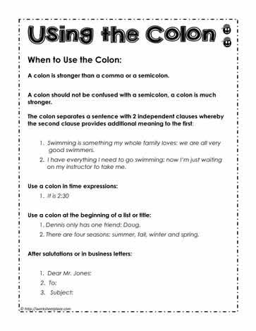 Colon Rules How To Use The Colon K12 Grammar English