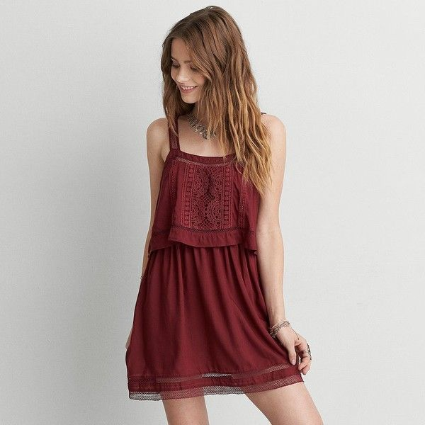 Aeo Lace Overlay Dress 55 Liked On Polyvore Featuring