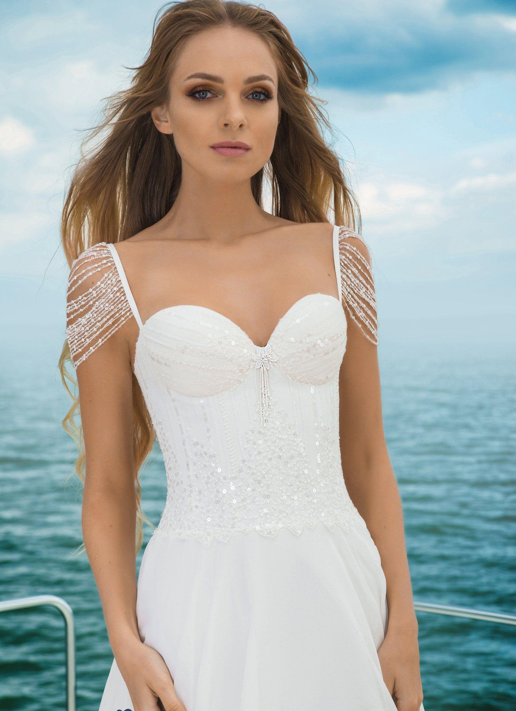 Chiffon satin boho wedding dress ivory elegant lace tulle