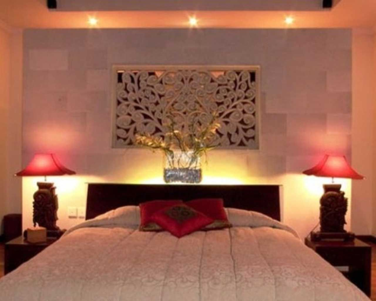 Bedroom. Romantic Bedroom Lighting Ideas Feats Black Headboard And Red Accent Table Lamp For ...