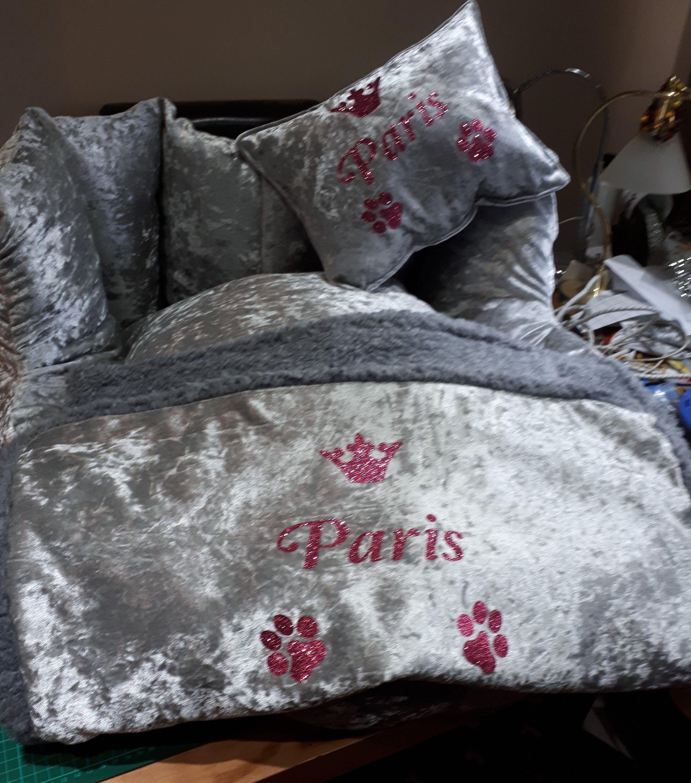 Crushed velvet sherpa fleece dog blanket personalised