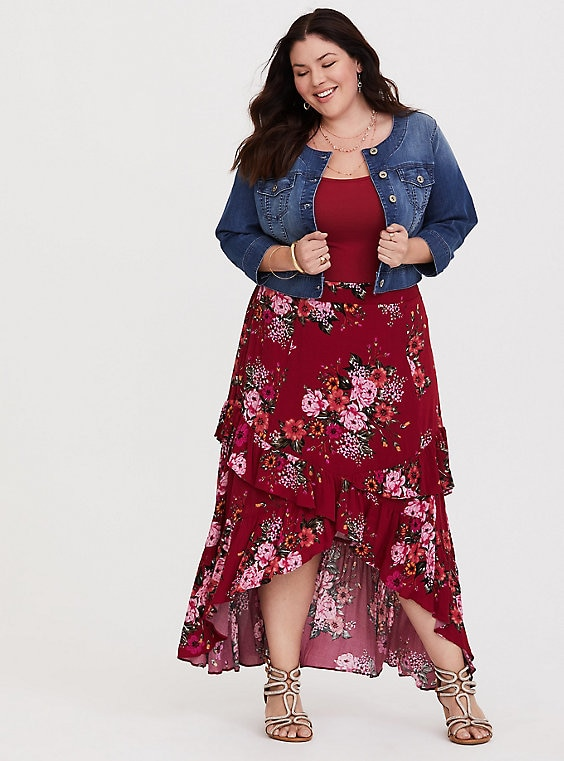 a4bf9a4daf3 Red Floral Hi-Lo Gauze Skirt in 2019