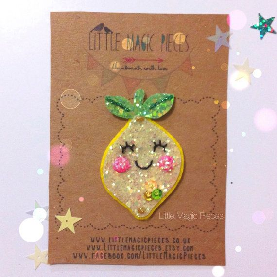 Hey, I found this really awesome Etsy listing at https://www.etsy.com/listing/232062283/happy-lemon-glitter-hair-clip-tutti
