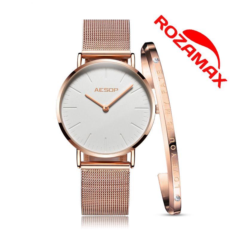 5602dcec6db6 Fashion Women Watches Female Waterproof Clock Milan Steel Rose Gold Watch –  rozamax