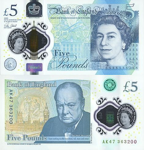 Great Britain 5 Pounds 2017 On 13 September 2016 The Bank Of England Introduced First 440 Million Polymer Pound Notes Printed By De La Rue