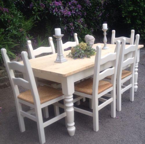 Handmadesolidchunkypinefarmhousetable6Chairsshabbychic Brilliant Handmade Dining Room Chairs Design Inspiration
