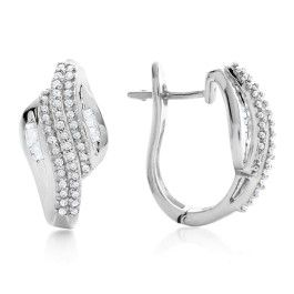 1 3 Carat Diamond Hoop Earrings In Sterling Silver