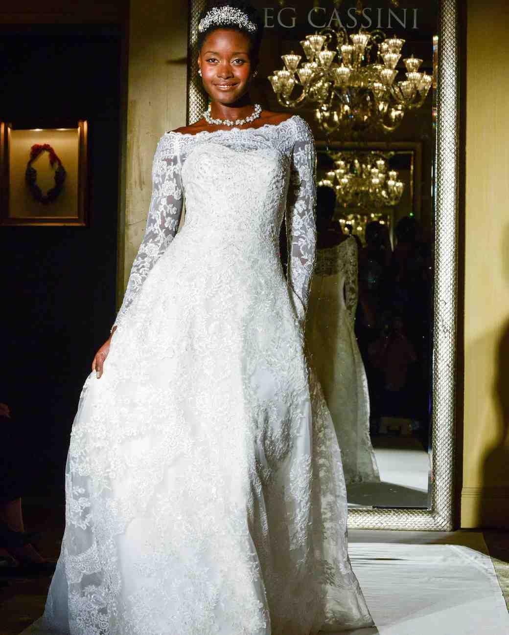 Long sleeve ball gown wedding dresses  Oleg Cassini Fall  Wedding Dress Collection  Martha Stewart