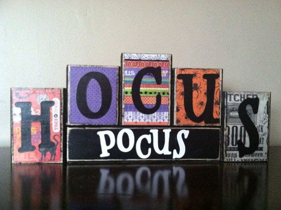 Halloween Decor, Halloween sign, Wood hocus pocus Blocks, Wood Halloween blocks…