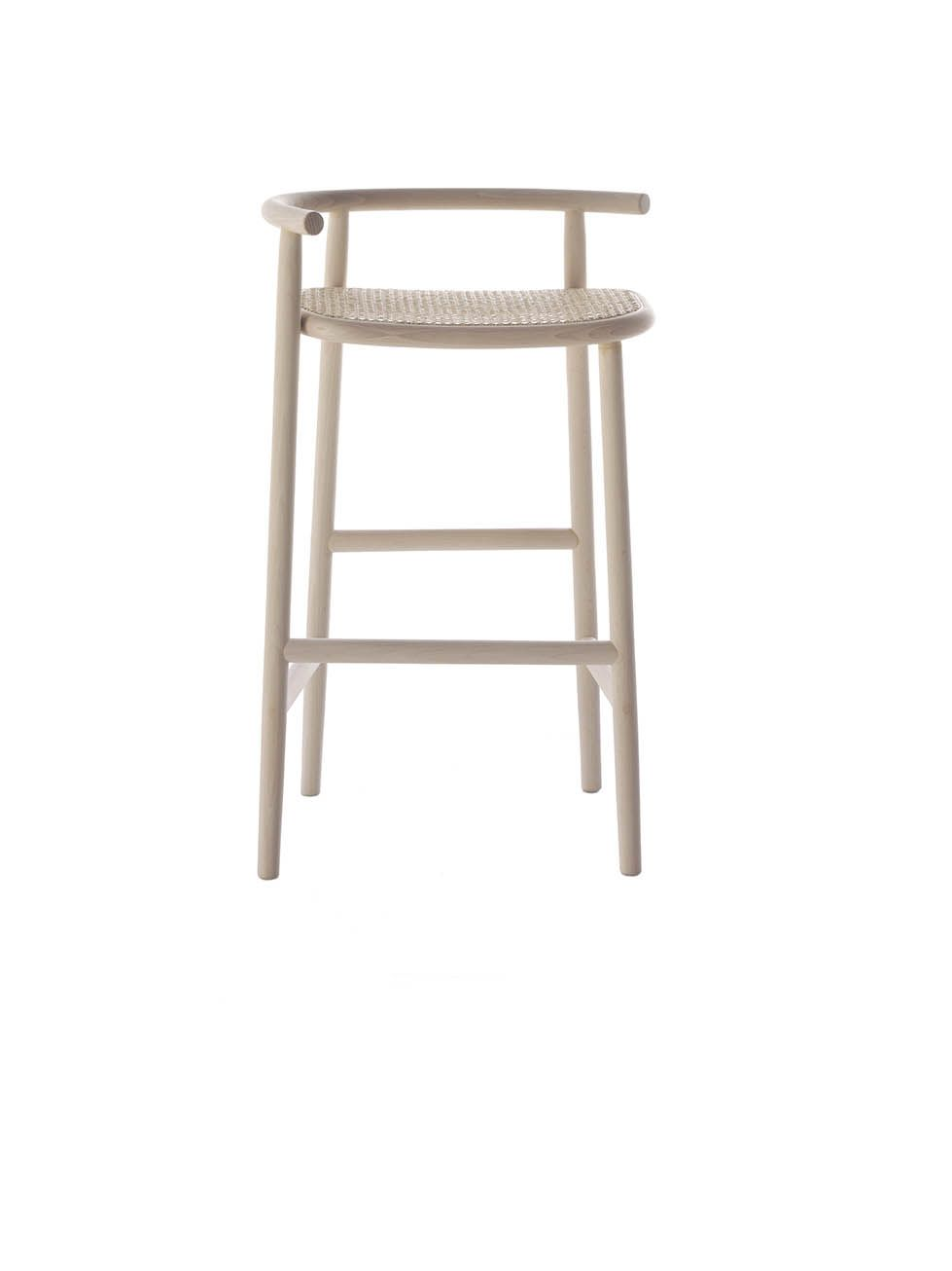 Tabouret De Bar Thonet Single Curve Barstool I Bleached Wood With Caned Seat I Nendo I