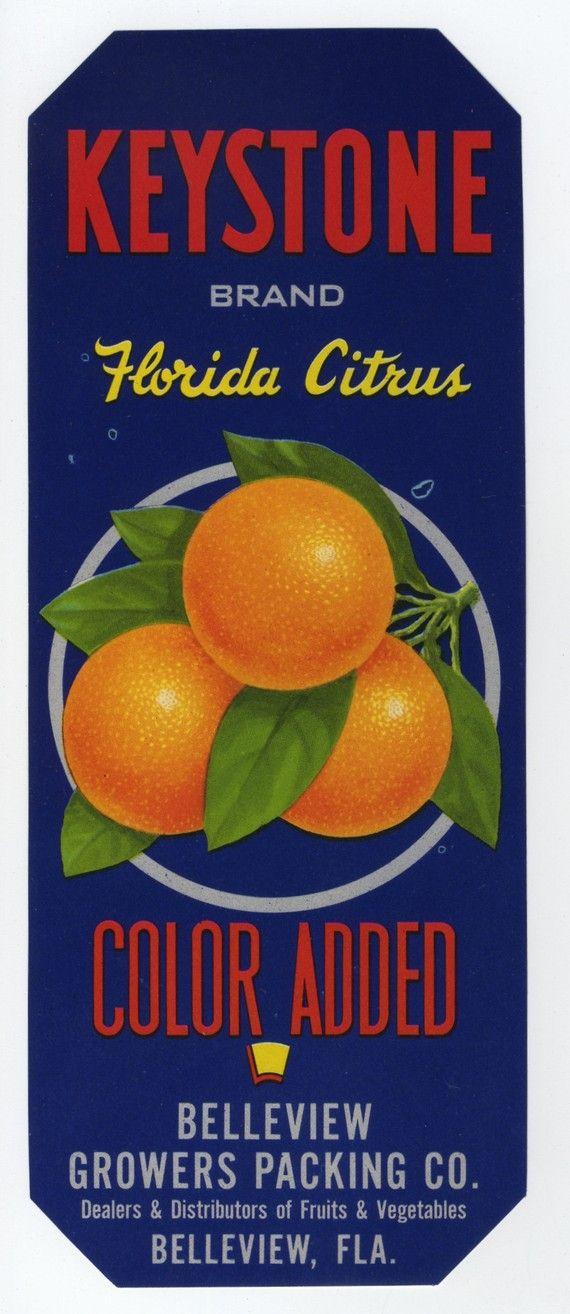 New Smyrna Beach Florida Tre-Ripn Brand Orange Citrus Fruit Crate Label Print
