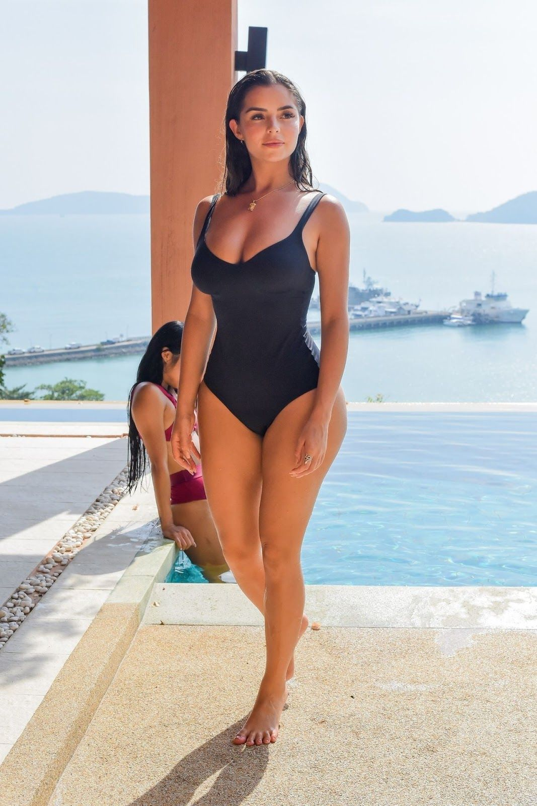 Demi Rose In a Black Swimsuit at the pool, Phuket