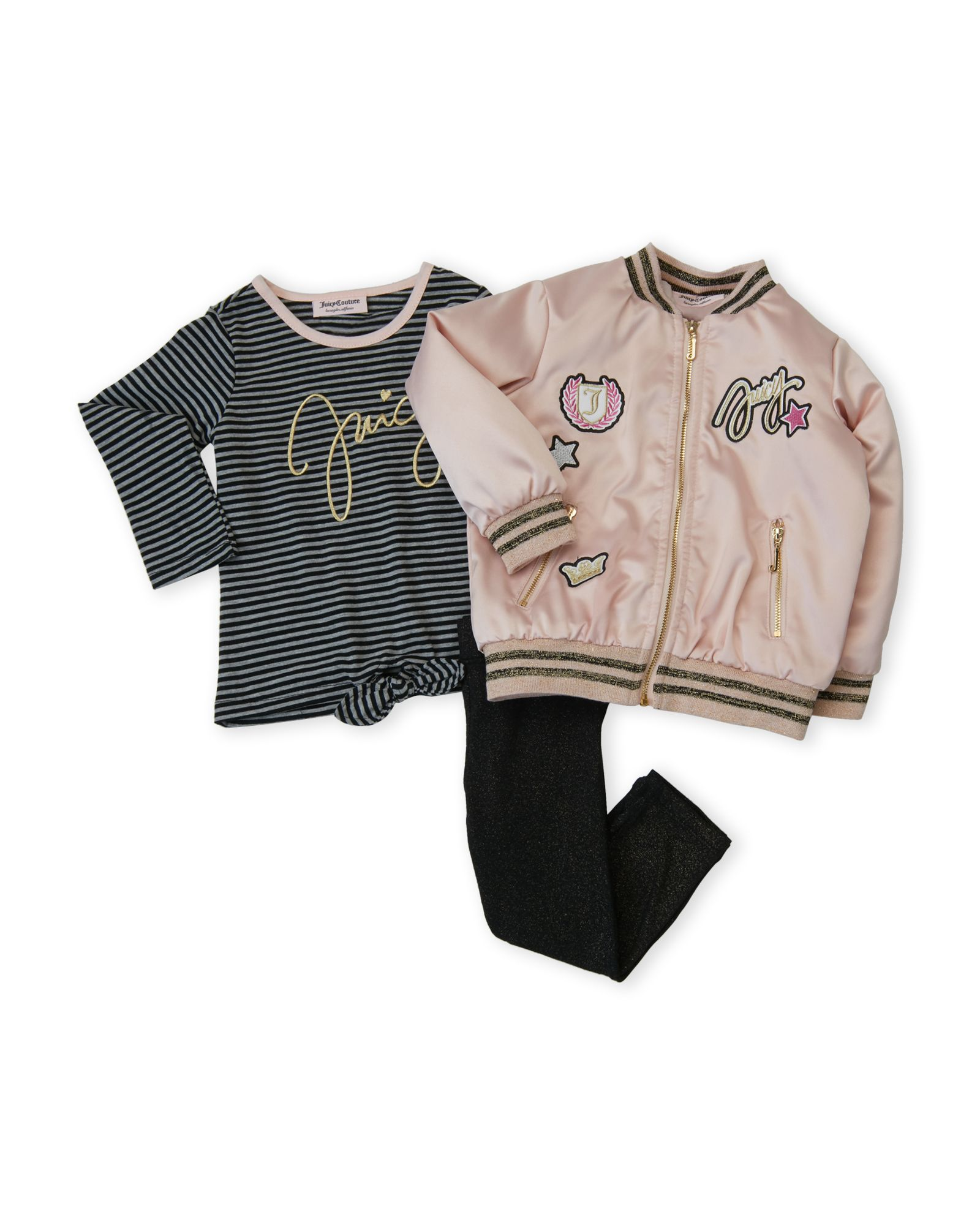 4232a604c Juicy Couture (Toddler Girls) 3-Piece Satin Bomber Jacket & Leggings ...