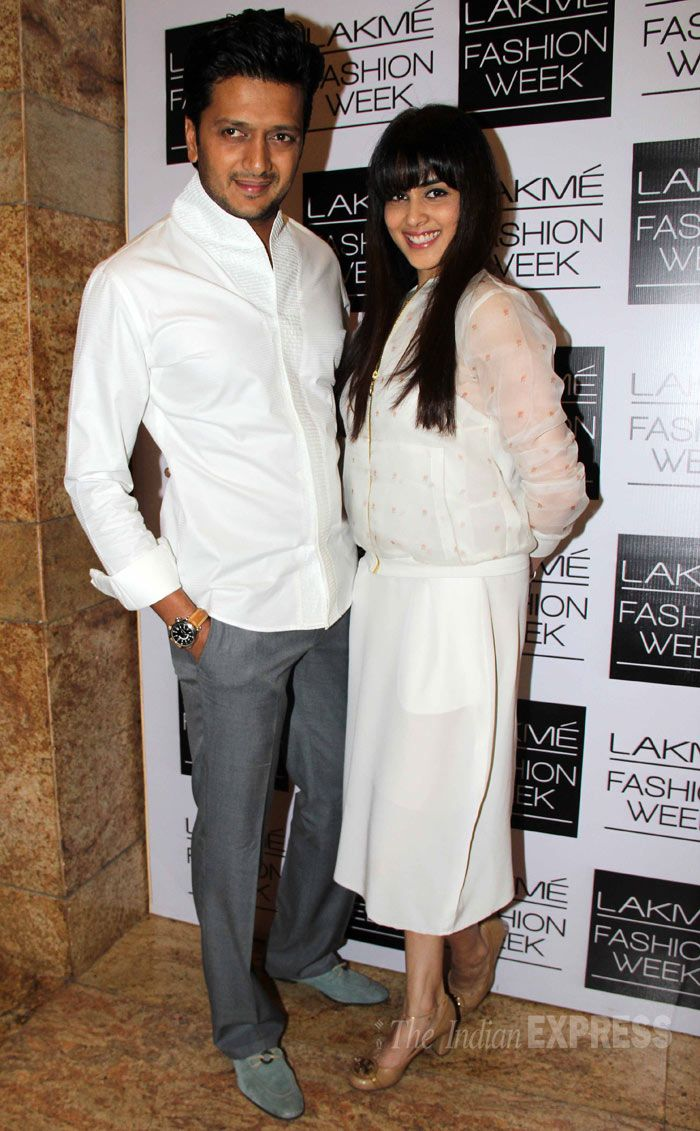 Genelia D'Souza also wore Nishka Lulla as she attended the designer's show with husband Riteish Deshmukh.