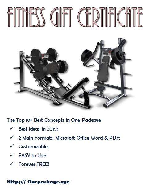 Free Fitness Gift Certificate Template Gift Certificate Template Certificate Templates Fitness Gifts