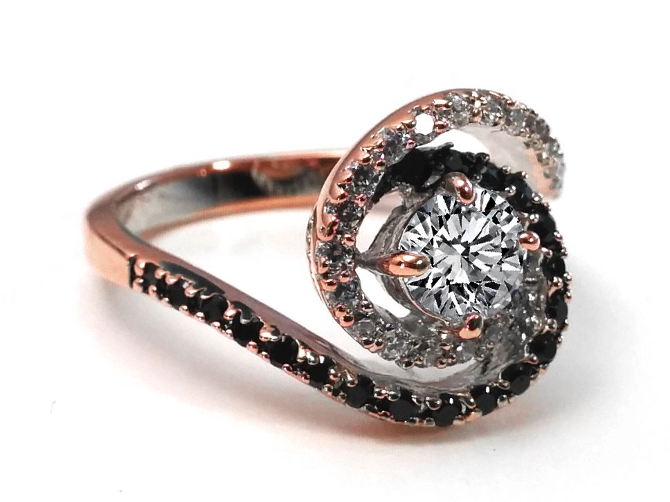 Woah Swirl Double Halo Black White Diamond Engagement Ring in 14