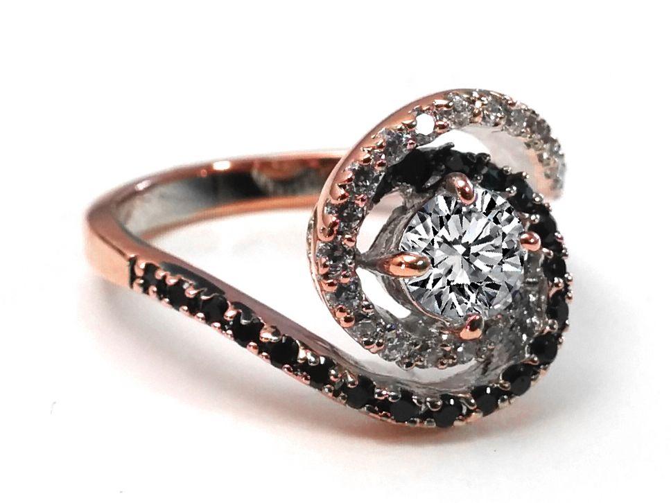 Woah Swirl Double Halo Black White Diamond Engagement Ring in