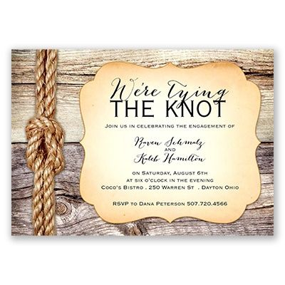 Tying the Knot - Engagement Party Invitation Rustic engagement - how to word engagement party invitations