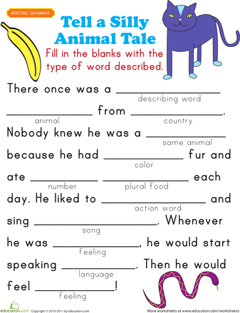 Fill-in a Funny Story #5 | For kids, Simply filling and Worksheets ...