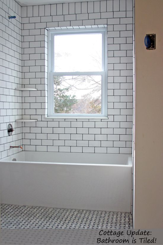 Photo Gallery For Website Bathroom white subway tile w dark grout soldier course degree