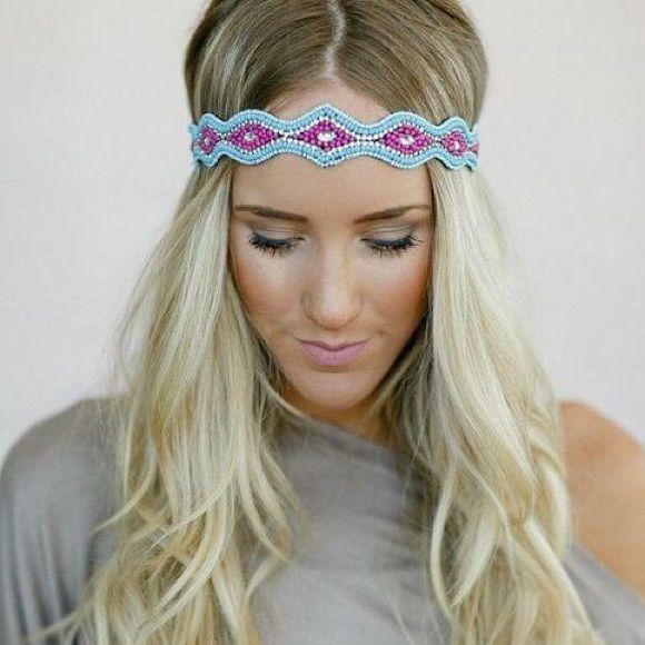 Beaded Three Bird Nest Headband Gorgeous blue and pink colors in this beaded headband! Three Bird Nest Accessories Hair Accessories