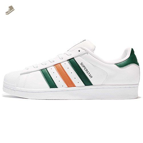 adidas Superstar 2 Tone Stripes Womens Trainers White Orange Green - 4.5 UK  - Adidas sneakers