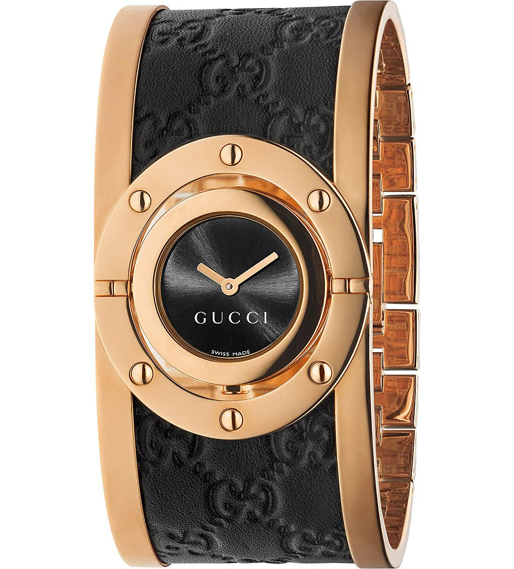 b8f63694ffa Gucci YA112438 Twirl large pink-gold PVD watch