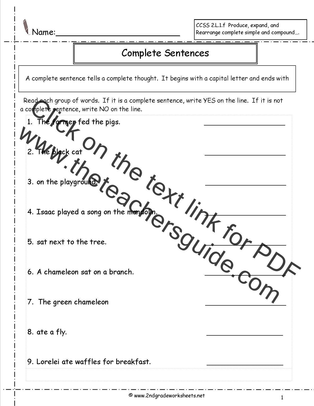 Complete And Simple Predicates Worksheet Second Grade