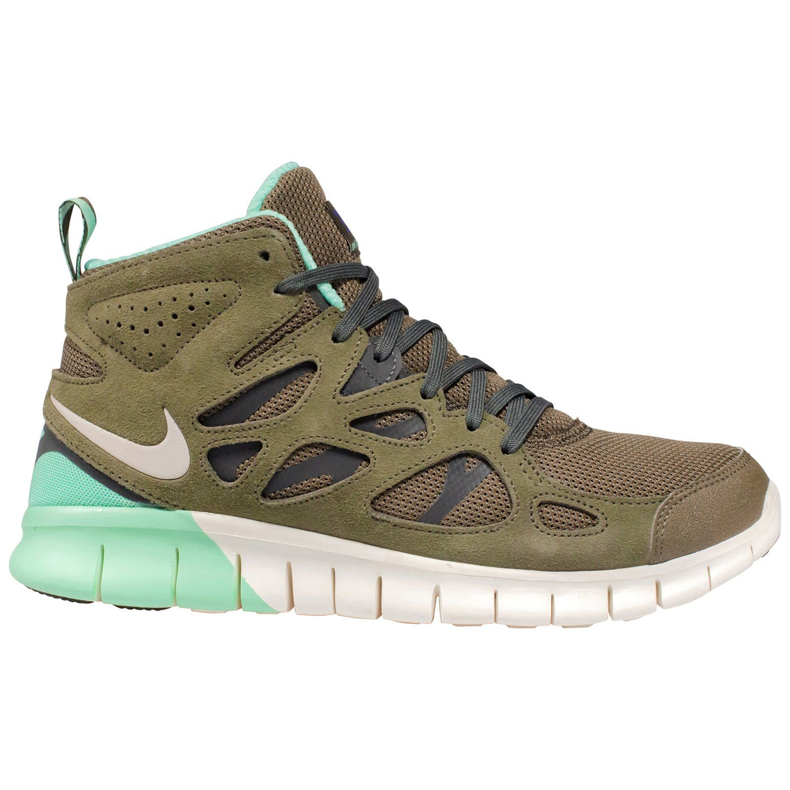 sale retailer 68fe9 d6d34 Nike Free Run 2 SneakerBoot - Medium Olive   Grey-Dark Loden-Green Glow