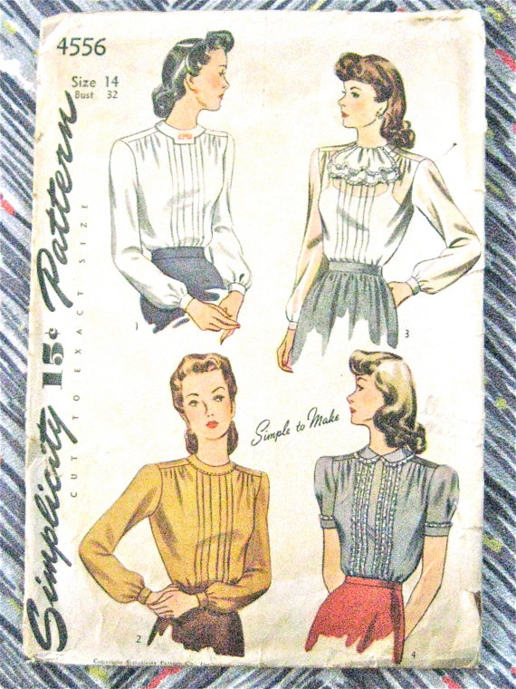Vintage 1940s Simplicity 4556 Blouse Sewing Pattern 40s Top | Bluse ...