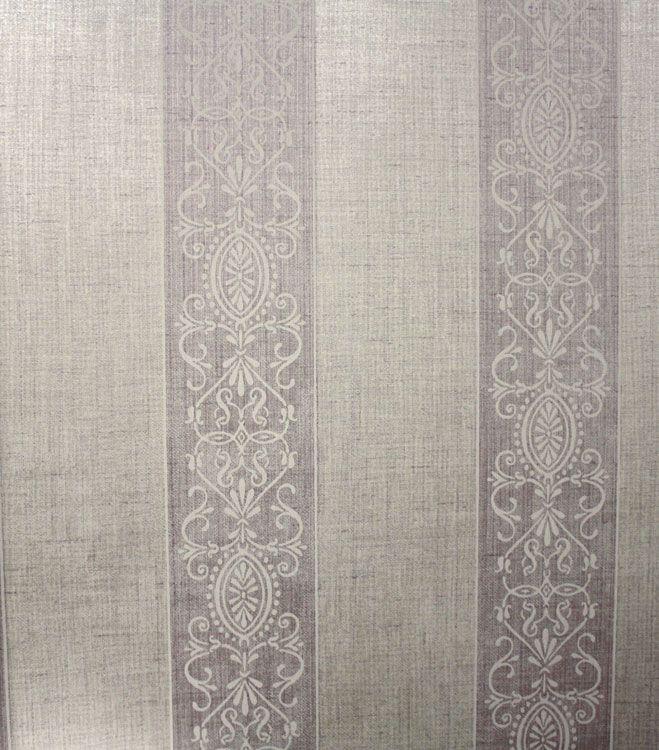 French Stripes Grey Light Purple Wallpaper