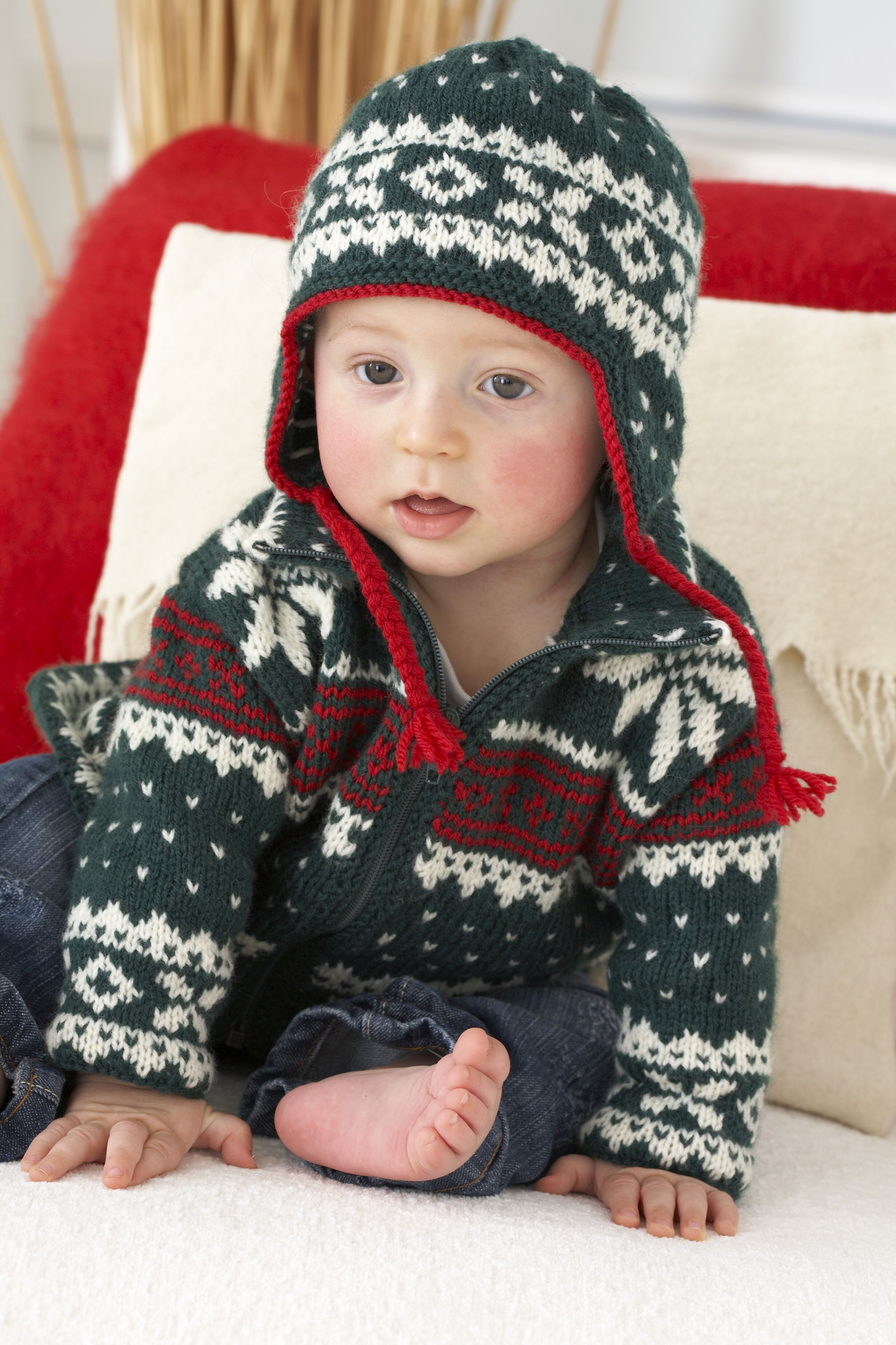 Knitted Baby Nordic Jacket And Hat Knitting Patterns