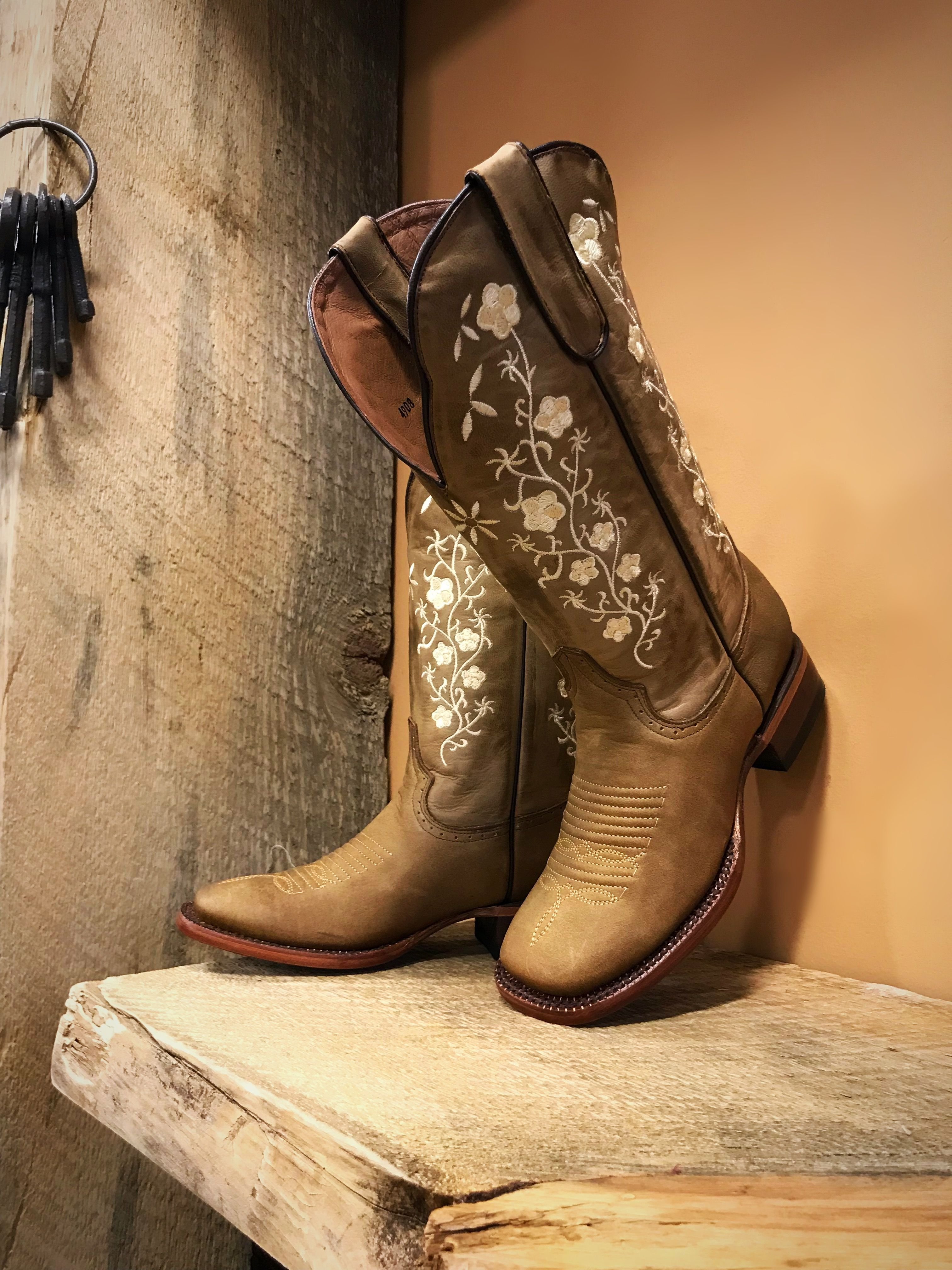 c5c872d4258 Women's Floral Embroidery Cowgirl Square Toe Boots ( Tan ) in 2019 ...
