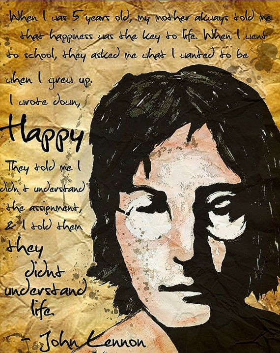 11x14 John Lennon Happiness Print When I Was 5 Years Old My Mother