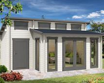 Gartenhaus Lausitz40 ISO mit Anbau Tuin en Tuinhuis