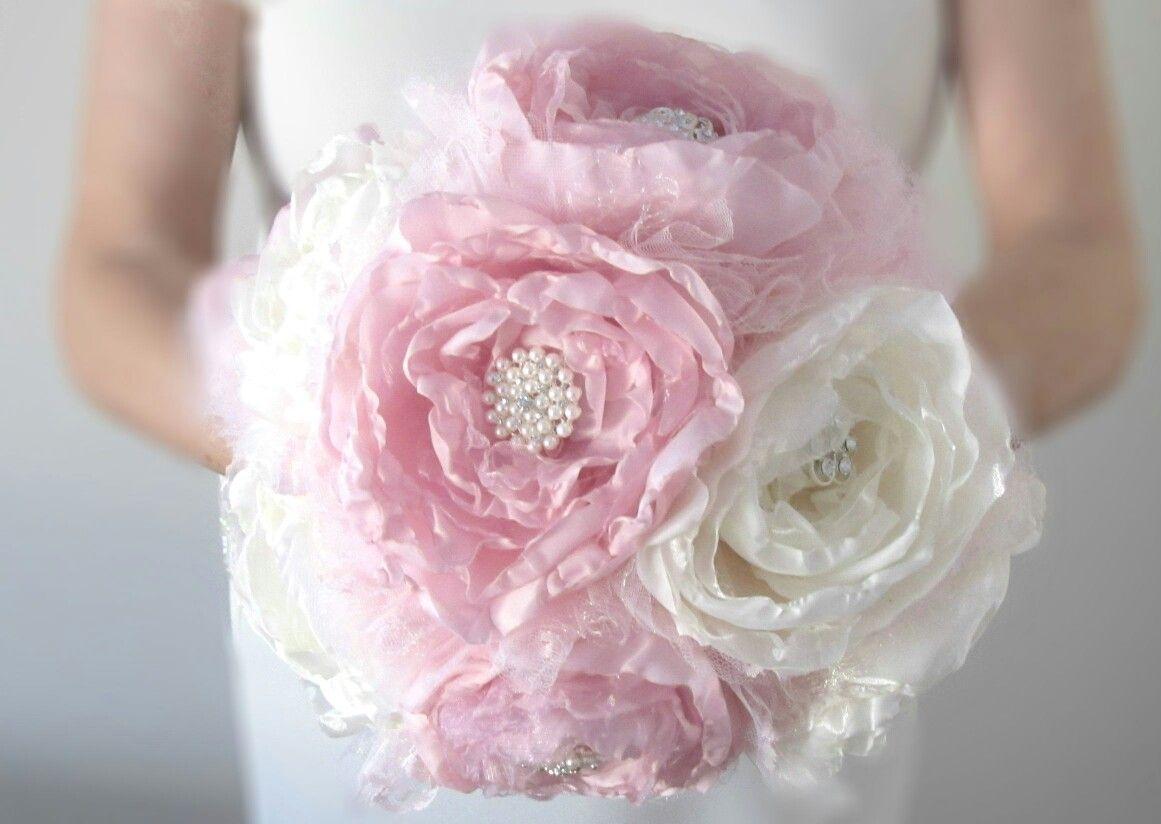 Fabulous handmade fabric flower pink and ivory peony wedding bouquet fabulous handmade fabric flower pink and ivory peony wedding bouquet izmirmasajfo