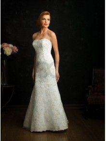 A-line Taffeta Embroidered Bodice Softly Curved Neckline Sweep Train Wedding Dresses (8676)