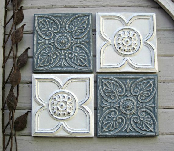 Antique Tin Ceiling Tiles Set Of 4 Framed Blue And White Wall Etsy Antique Tin Ceiling Tile Tin Ceiling Tiles Tin Ceiling