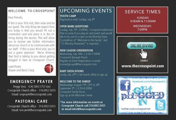 Crosspoint Church Bulletin By Tyler Sanguinette Via Behance  Fbc