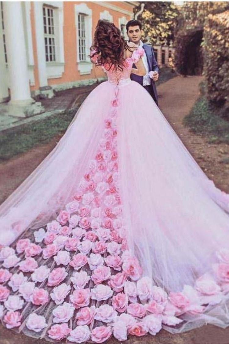 Pink Cathedral Off the Shoulder Ball Gown Vintage 10D Flower