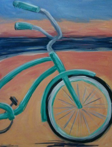 Turquoise beach cruiser bike bicycle painting for Paint and wine albuquerque