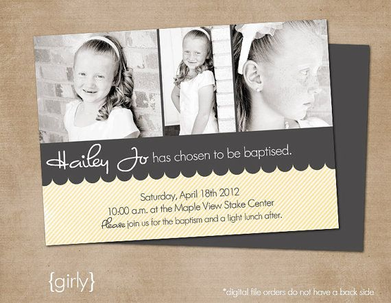 LDS Baptism Photo Invitation Digital or Printed by inPRINTdesigns ...