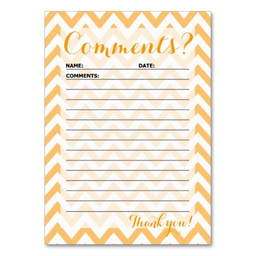Chevron Customer Comment Card Business Card Templates In Mustard