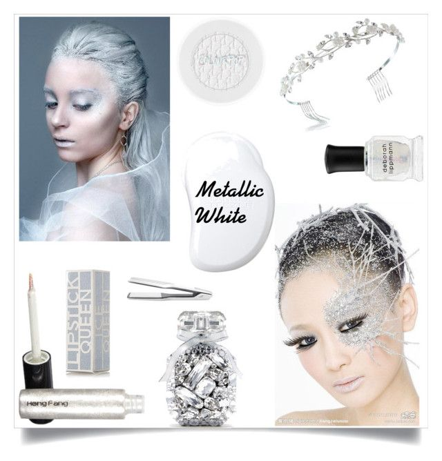 """""""Ice Queen/Metallic White"""" by im-karla-with-a-k ❤ liked on Polyvore featuring beauty, Tangle Teezer, Bling Jewelry, Deborah Lippmann, Lipstick Queen, Victoria's Secret and T3"""
