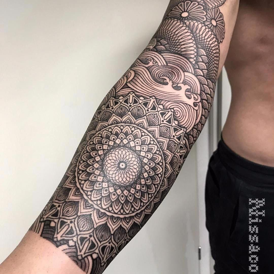 I Seriously Fancy The Colors Lines And Fine Detail This Really Is A Terrific Tattoo Design If You Wa Geometric Sleeve Tattoo Geometric Tattoo Sleeve Tattoos