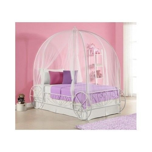 Girls White Princess Twin Canopy Carriage Bed Metal Frame Ornate ...