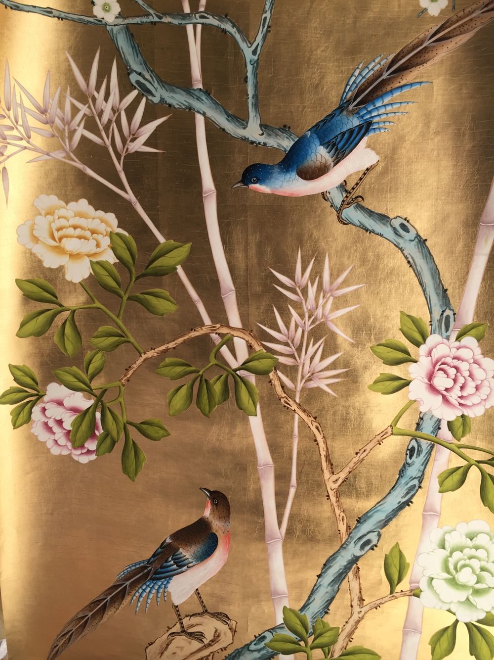 gloden leaf hand painted wallpaper Chinoiserie wallpaper