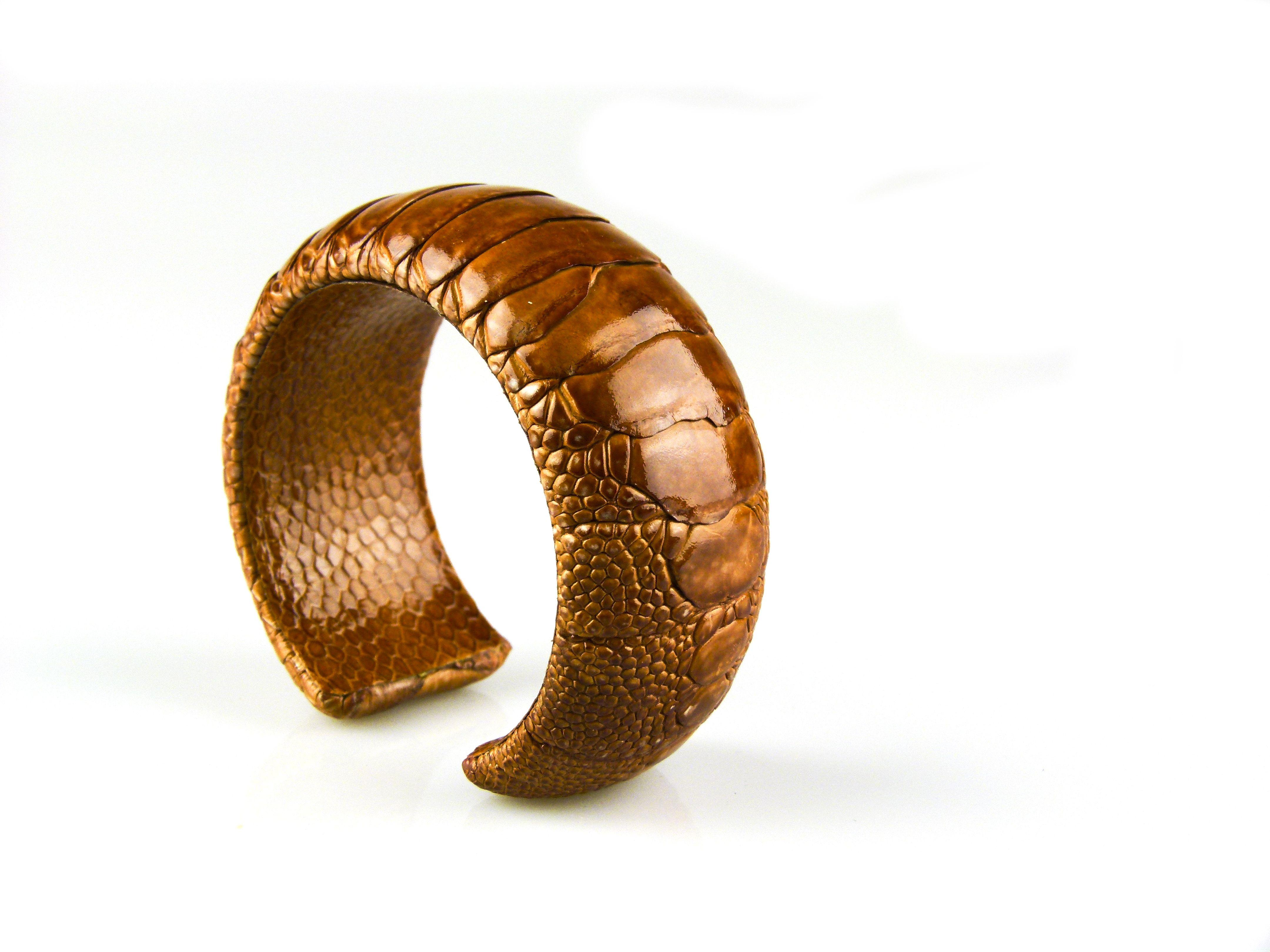 armband in struisvogelleder 30 mm breed kleur copper